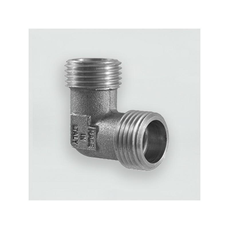 Коляно с никелирано матирано покритие с две външни резби ММ