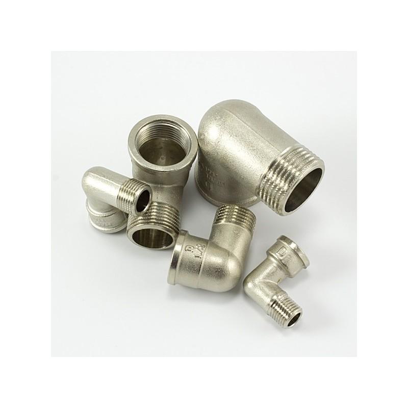 Коляно с никелирано матирано покритие вътрешна и външна резба МЖ