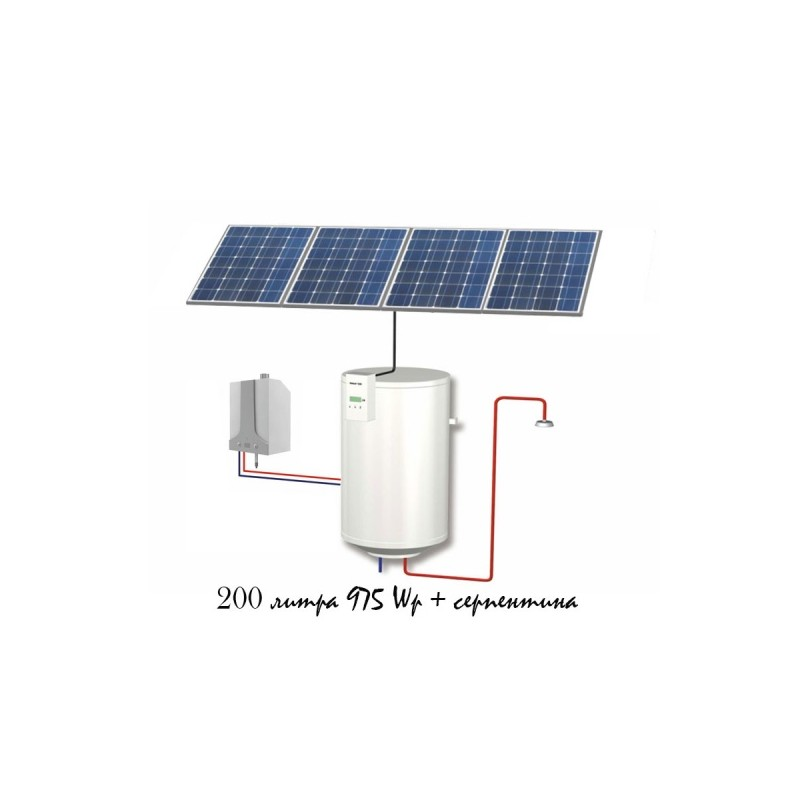 Фотоволтаичен бойлер за подгряване на вода 200L със серпентина