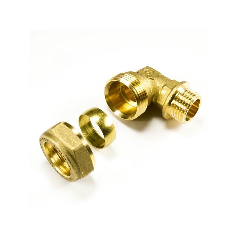 Ъглова връзка с мъжка резба за медна тръба месингова компресионна