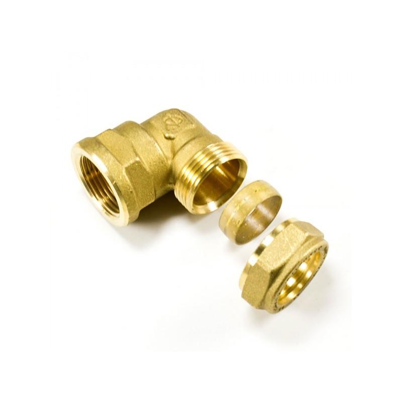 Ъглова връзка с жеска резба за медна тръба месингова компресионна
