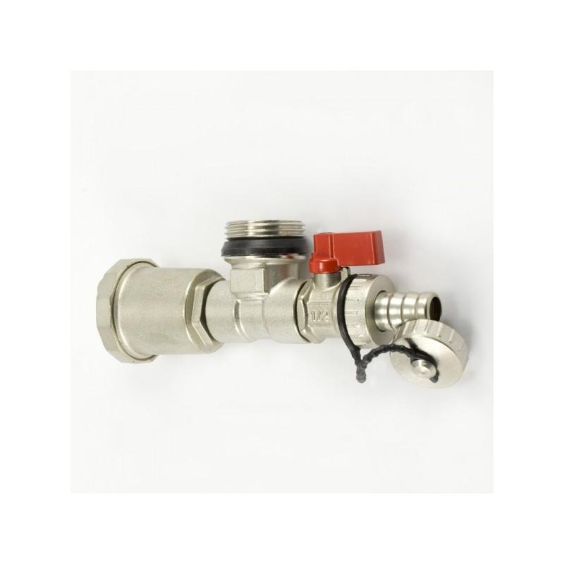 Колекторен накрайник с автоматичен обезвъздушител и дренажен кран 1 цол